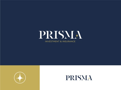 Prisma serif gold navy blue star logotype