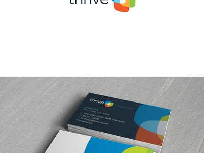 Thrive Sa branding by Logoholik spot multi color screens transparency overlapping logo branding print