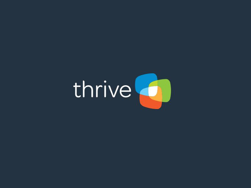 Thrive Sa branding by Logoholik spot multi color screens transparency overlapping logo branding print