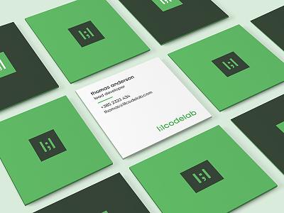 Lil Biz Cardz :) green pixel square business cards