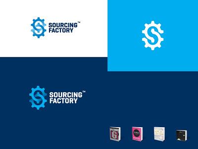 Sourcing Factory negative space logo blue monogram cogwheel