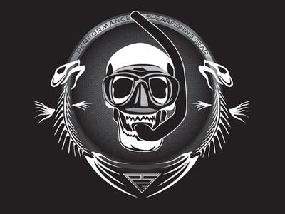 Diver Skull skull and crossbones bones skull vector logo design coastal branding offshore illustration freediving fishes fisherman diving spearfishing fish fishing diver