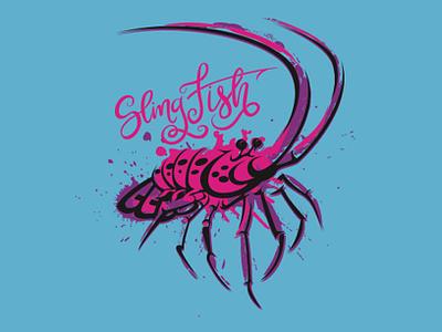 Lobster vector coastal branding offshore freediving fishes fish fisherman fishing logo illustrator girls spearfishing diving seafood illus design tee shirt illustration lobster
