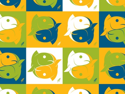 Pisces Yin Yang colorful fish art fishing rod seafood logo branding vector design coastal offshore illustration fishes fishing yin-yang yin yang yinyang fish pisces
