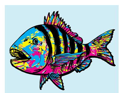 Sheepshead by Jason Huggins flat stripes abstract colorful seafood vector logo design coastal branding fisherman illustration fishes fishing inshore fish sheepshead