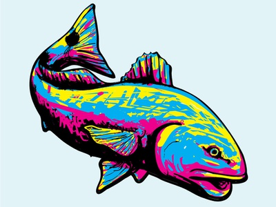 Redfish Jason Huggins Designs2 fly fishing flats inshore red drum redfish abstract colorful seafood vector logo design coastal branding fisherman illustration fishes fish fishing