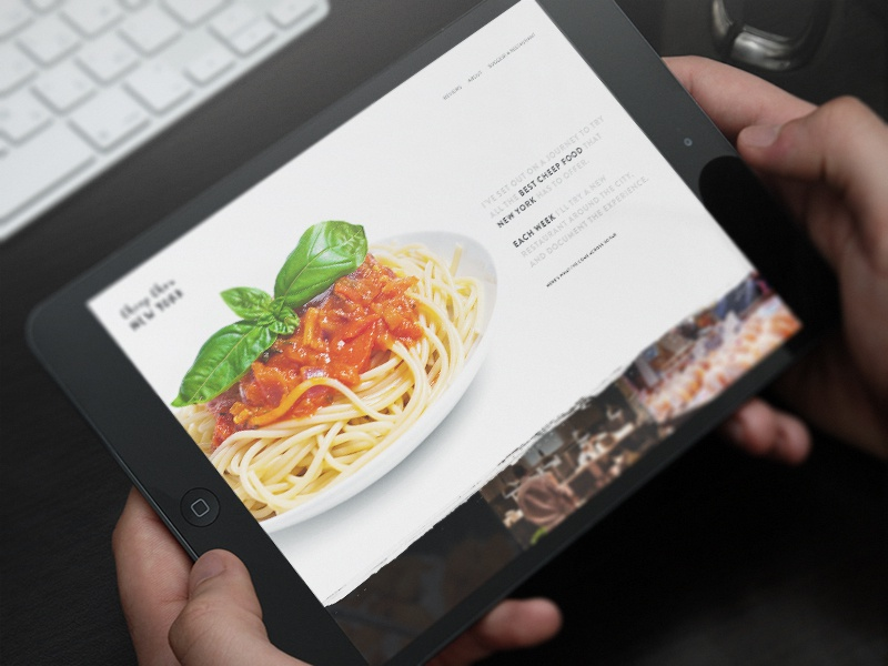 Personal Project Concept mockup homepage blog ipad web restaurant food