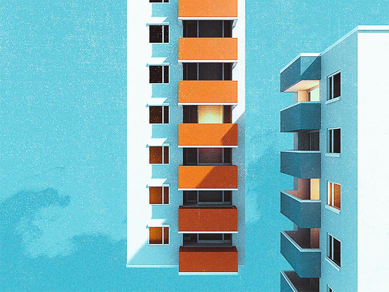 Buildings WIP blue sky minimal architecture texture 3d cinema 4d