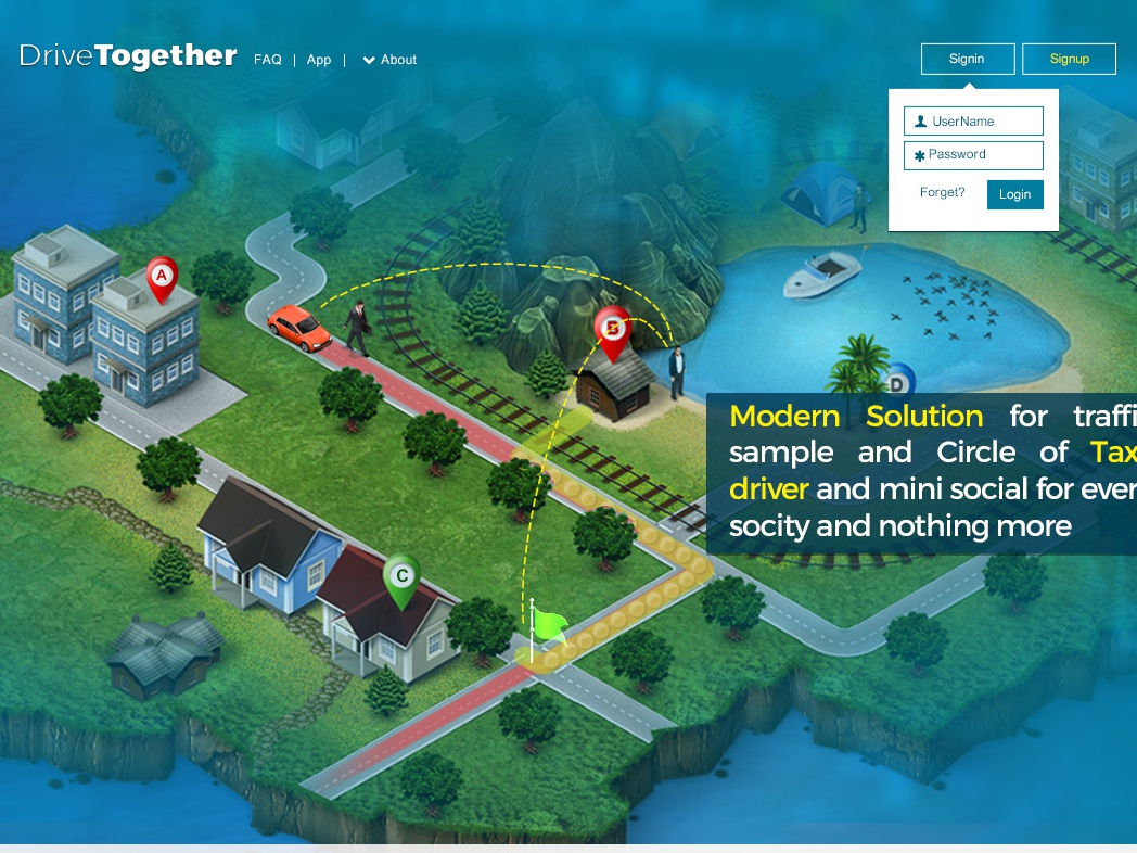 Drive Together uber design isometric map drive uber