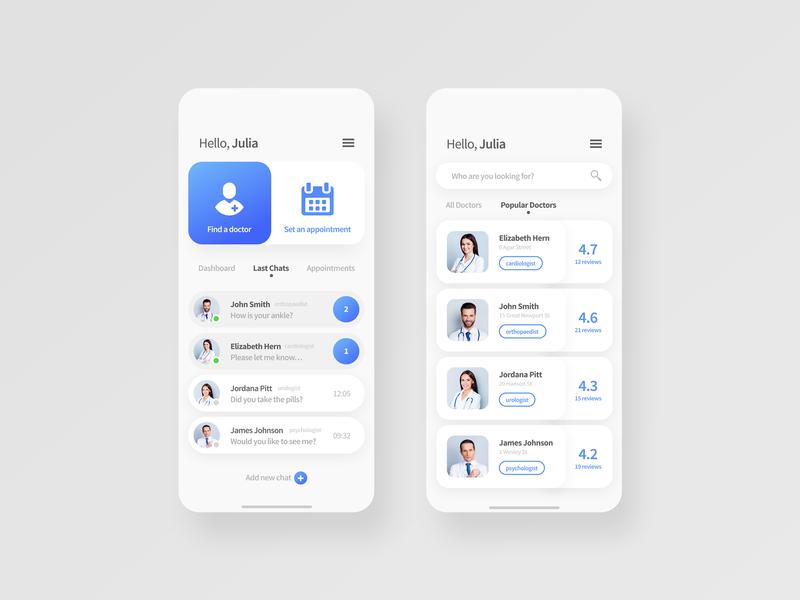 Find Doctor App UI Design application ux minimal ux design uiux ui web ui  ux ui design design branding app