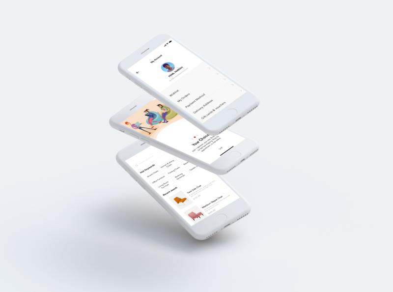 E-commerce Mobile App Mockup graphic design clean minimal ux illustration website