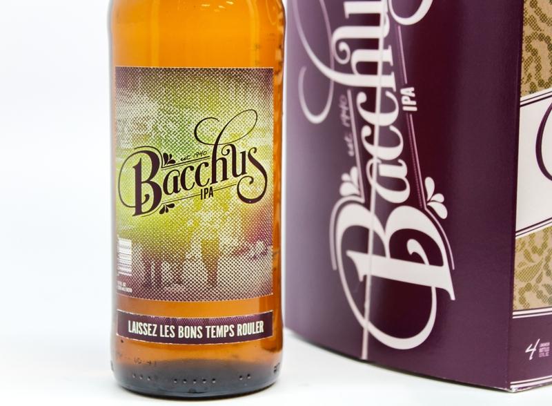 Close Up of Bacchus Beer Label mardigras halftones branding beer packaging