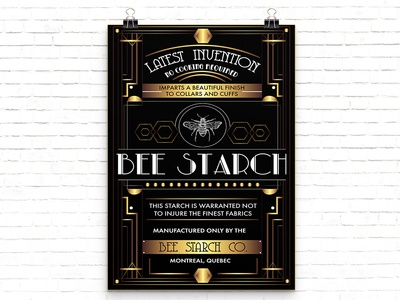 """1920s Poster // """"Bee Starch"""" typography illustration design art deco poster"""