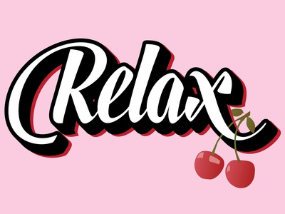 """Timed Project // """"Relax"""" typography illustrator design"""