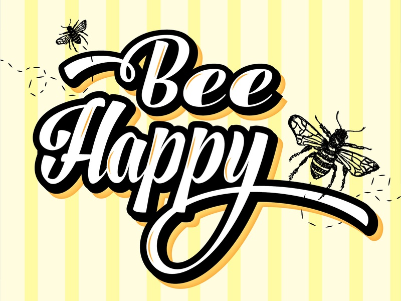 """Timed Project // """"Bee"""" Happy yellow bold bright graphic design illustrator typogaphy design"""