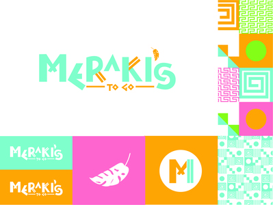 Meraki's To Go greek food patterns foodtruck logo branding design