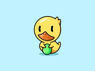 Little duck duckling illustration funny cute logo duck