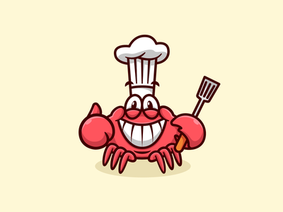 Happy Crabby Chef vector design culinary food business cooking chef illustration logo crab seafood