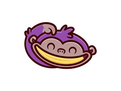 Smiley monkey 🦧 funny animal happy smile illustrations logo monkeys banana
