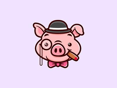 Gentle Pig 🐷 creative funny branding idendity wild life animal cartoon vector graphic design brand smoking gentleman piggy illustration logo pig
