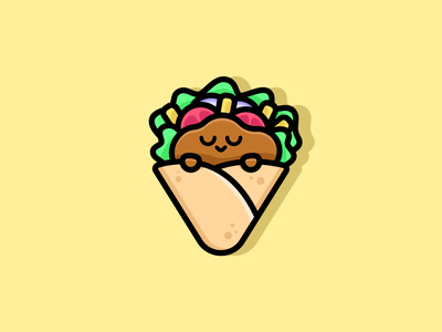 Dream Kebab 🌯 mascot cartoon happy cute idendity design illustration logo vegetables meat eat delicious fresh snack food fasfood junkfood kebab