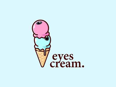 EyesCream 🍦 junk food creative identity ideas cartoon design illustration vector logo summer fresh sweet cool drink ice food icecrem