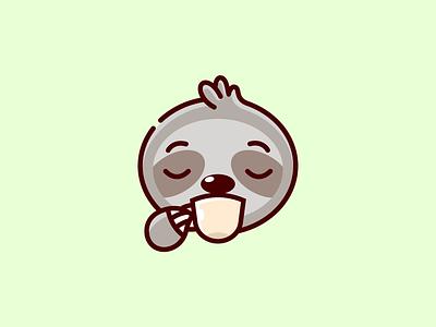 SlothCoffee 🦥 design vector creativity identity ideas funny cute logo illustrations character cartoon wild life animal sloth morning hot drink drink coffee