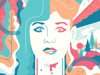 Betty Who Poster Detail portrait illustration psychedelic design adobe illustrator vector adobe screenprint