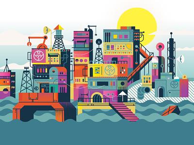 Fortnite Floating City Loading Screen flat illustration illustration adobe vector adobe illustrator fortnite