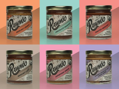 Rawmio Logo and Packaging label design packaging vector design adobe illustrator branding logo