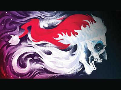 Fortnite Skull Trooper Loading Screen flaming skull illustration adobe vector design adobe illustrator christmas holiday skull santa fortnite art fortnite