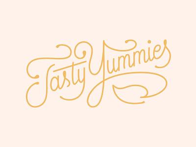 Tasty Yummies Brand & Packaging logo design adobe illustrator script pattern vector letterring brand identity