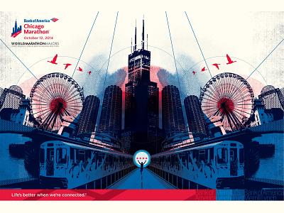 Bank of America Chicago Marathon Poster & Map poster design chicago marathon chicago icon design vector design adobe illustrator marathon