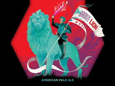 Bronze Lion American Pale Ale Beer Label arcade brewery illustraion design adobe vector adobe illustrator beer art