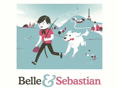 Belle & Sebastian Poster screenprint rock poster midcentury children book illustration childrens book gigposter