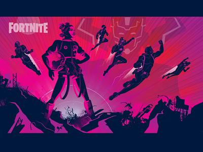 Fornite Galactus Event Poster video game videogame video game art illustration adobe adobe illustrator vector marvel superhero fortnite art fortnite