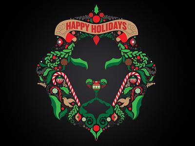 Delicious Holiday Lion happy holidays holiday illustration adobe illustrator vector christmas
