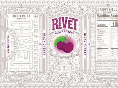 Rivet Hard Seltzer, Ironhill Brewery beverage design beer design liquor design can design hard seltzer rivet