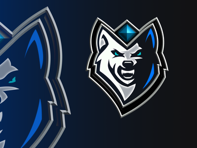 white wolf whith the blue sapphire gem esport logo
