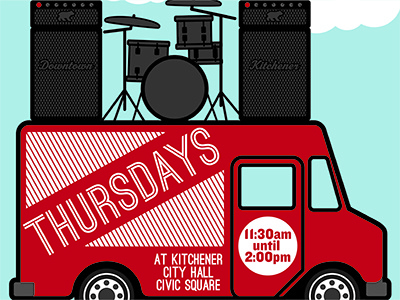 Live Music & Food Trucks vector poster illustrator food truck food truck
