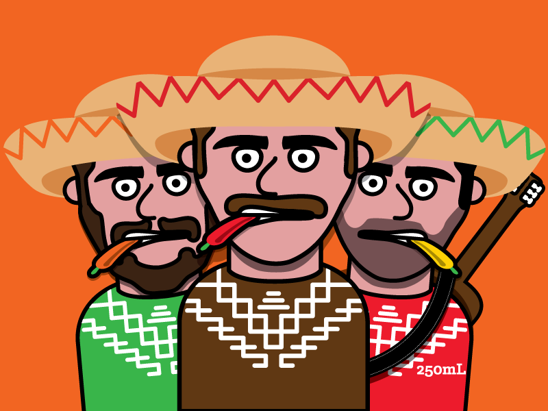 Three Dudes vector illustration label peppers