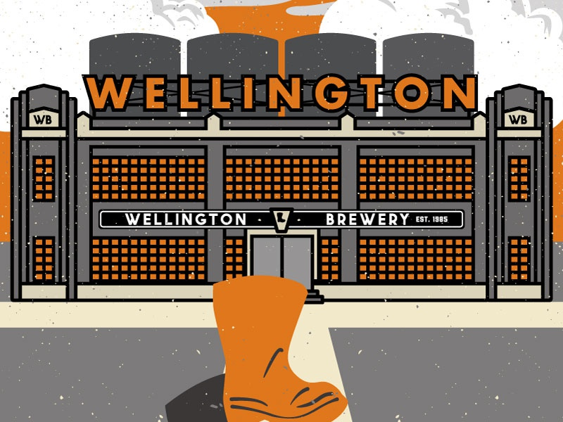 Fictional Brewery History statue illustration brewery boot factory beer vector