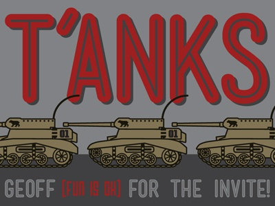Drafted tank debut vector invite thanks