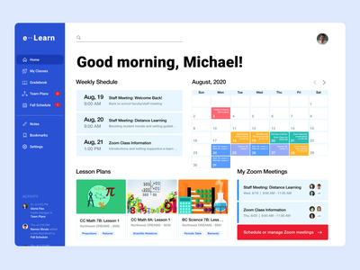 Distance Learning Dashboard for Educators figma visual design ui design product design education calendar zoom meeting task management dashboard concept distance learning