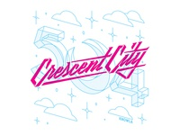 Crescent City handlettering typography illustration vector lettering
