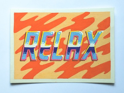 Relax posca lettering typography illustration