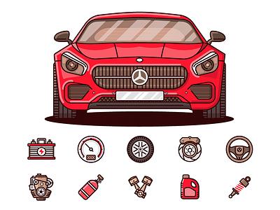 Car Spare Parts graphic design illustration icon automobile auto parts car