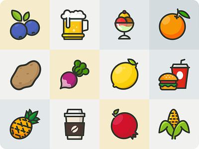 Fruits/Veg/Junk foods veg fruits illustration food iconography icon
