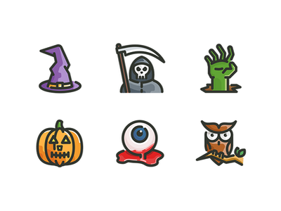 Halloween icons for Free! zombie pumpkin owl reaper grim spooky witch iconography halloween illustration icon
