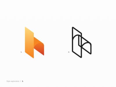 Explorations for h branding gradient stroke h letter logo